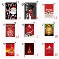 Wholesale Christmas Hanging Outdoor Snowflakes - 35 style Christmas Garden Flags Santa Claus Reindeer Snowman Garden Flag Indoor Outdoor Home Décor Snowflake Party Hanging Flag 30*45cm
