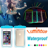 Wholesale Android Note Cases - Luminous Waterproof Bag Case PVC Touch Screen Transparent Universal Pouch Cover For iPhone X 8 Plus Samsung Note 8 S8 Android Smartphones