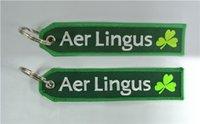 ingrosso portachiavi portachiavi-Keychain del tessuto di prezzi di fabbrica Aer Lingus Irish Airlines CREW bagagli Keychain Banner 13 x 2.8cm 100pcs sacco