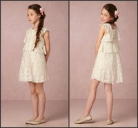 Wholesale Cute Green Cake - Vintage Lace Cute Flower Girl Dresses 2017 Summer Beach Bohemian Cake Party Gowns A Line Short Cute Kids Formal Dresses for Wedding