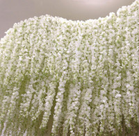 ingrosso viola fioritura vitigni-Seta artificiale Hydrangea Garland Sfondo Viola Glicine Fiore ghirlanda di vite per la decorazione di nozze sfondo decorazione della parete all'ingrosso