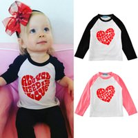 Wholesale Toddler Boys Halloween Shirts - 2016 Autumn Kids Toddler Baby Boy Girl Xmas Family Long Sleeve T-shirt Tops Clothes Red Heart cotton t shirt