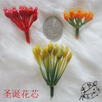 rotes blumenmaterial großhandel-Nylon Blume Materialien Strumpf Blume Material rote Blume Weihnachten Saflor Blume Stamon kleine Größe