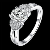 Wholesale Love Double Finger Ring - Women's love Full Diamond fashion Double Heart and Stone 925 silver Ring STPR008-D brand new gemstone sterling silver finger rings
