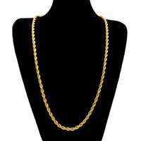 14k schwere goldketten großhandel-6.5mm dick 80cm lange Seil verdrehte Kette 14K Gold versilbert Hip Hop verdrehte schwere Halskette für Männer Frauen