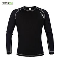peaux de compression achat en gros de-WOSAWE hommes couche de base de compression Tight Top Shirt sous la peau manches longues Sport Gear polaire manches longues maillots de cyclisme