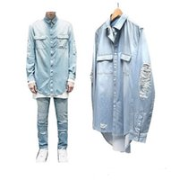 herren blaue jeanshemden großhandel-Neue Männer Distressed Denim Shirts Herren Hip Hop Blau Cowboy Hemd Langarm Hiphop Streetwear Swag Top Jean Hemd Clohes