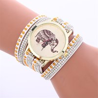 Wholesale Korean Velvet Dress Women - Korean velvet women crystal watch Diamond Elephant Bracelet leather watches Fashion ladies dress quartz wristwatches 100pcs
