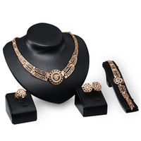 Wholesale Diamond Head Set - hot sale jewelry set fashion vintage 18k gold plated diamond rhinestone lion head 4 pcs set earring ring bracelet necklace jewelry