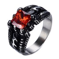 Wholesale jewelry ruby ring - Male Summer Retro Ring Fine Jewelry Size 9-14 Gorgeous Ruby Red & Black Titanium Steel Rings For Men Bague Homme Whosesale