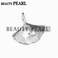Wholesale 5 Pieces Blank Pendant Sterling Silver Ginkgo Leaf Pendant Findings Charm for DIY Jewelry Mountings