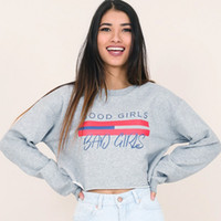 Wholesale Stylish Top Woman - 2017092216 Sweatshirt Women Casual Autumn Letters Printed Long Sleeve Hoodies Loose Punk Stylish Crop Tops Gray Mujer Pullovers