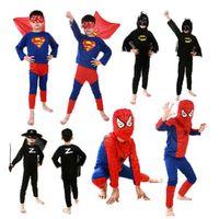 Wholesale Cotton Spiderman Costume - Kids Cosplay costume Batman costume for kid Superman Spiderman Superhero cosplay Zorro costume mix size 50sets lot