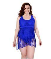 Wholesale plus size swimwear fringes online - 2016 PLUS SIZE High Waist Bikini Womens Retro Fringe Tassel Push Up Swimsuit Bandeau Rockabilly Swimwear