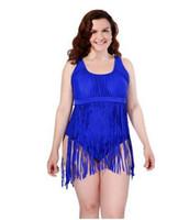 maillot de bain rockabilly achat en gros de-2016 PLUS TAILLE Taille Haute Bikini Femmes Rétro Frange Tassel Push Up Maillot De Bain Bandeau Rockabilly Maillots De Bain