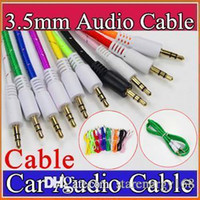 Wholesale h cable - Auto Cable 3.5mm Stereo Audio AUX Cable Braided Woven Fabric Auxiliary Cords Jack Male to Male 1m 3ft for Mobile Phone Samsung H-SJ