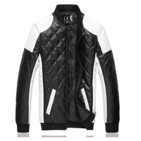 Wholesale Long Leather Quilted Sleeve Coat - mixed colors Quilted leather autumn & winter pu leather clothing inside mesh breathable men's Slim leather jackets coats Y210