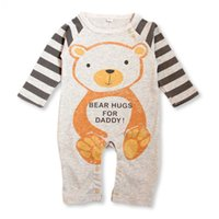 Wholesale Tiger Bodysuit Baby - Wholesale- 2016 Bear Panada Tiger Printed Kids Baby Clothes Outfit Boys Girls Warm Hooded Infant Romper Jumpsuit Bodysuit