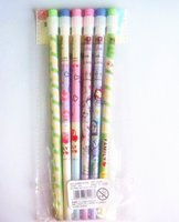 Pencils painted wooden ducks - 1piece wooden pencil with big eraser cute yellow duck and animals painted pencils plastic package as picture retail pencils pens