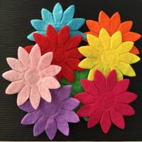 Wholesale Make Felt Flowers - NEW 50PCS Mix 40mm Padded Felt Spring Flower Appliques Crafts Wedding Making DIY