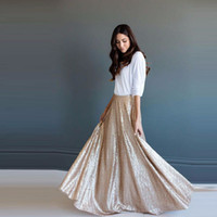 Wholesale Long Maxi Evening Skirts - New Arrival Champagne Long Sequins Bridesmaid Skirts A Line Chic Invisible Zipper Waist Floor Length Women Maxi Skirts Evening Party Dresses