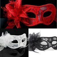 Wholesale Translucent Masquerade Mask - Women Wholesale Sexy Hand Made Masquerade Masks Halloween Party Translucent Lily Flower Masks Bar Party Celebration Cloth Party Masks