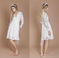 Wholesale Summer Long Shirt Simple Designs - Long Sleeve Wedding Dresses 2018 New Design Lace Pregnant Bride Dresses Vintage A Line V Neck Knee Length Beach Summer Boho Bridal Gowns