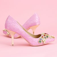 satin pink bridesmaid heel 2018 - Spring Pointed Toe Fashion Bridal Shoes Pink Stilettos Crystal Wedding Shoes Women Single Party Event Pumps Bridesmaid Shoes
