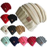 Wholesale Knitted Skull Sweater - CC pasted winter warm hat men's sweater hat ladies knitted cap warm pure color 10 colors