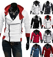 suikastçı inançlı ceketleri toptan satış-Toptan-2016 Şık Mens Assassins Creed 3 Desmond Miles Kostüm Hoodie Cosplay Ceket Ceket