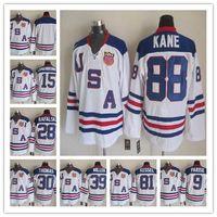 parise usa hockey jersey großhandel-2010 Team USA Hockey Trikots billig OLYMPIC 9 Zach Parise 88 Patrick Kane 81 Phil Kessel 28 Brian Rafalski 39 Miller 15 Langenbrunner