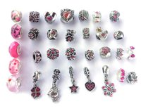 Wholesale Pink Big Hole - New mix style pink rhinestone antique silver plated big hole alloy beads charms fit European bracelet DIY