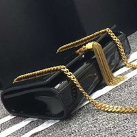 Wholesale Women Fashionable Black Bags - Hot sell classic high quality real leather handbag fashionable tassel decorative shoulder bag golden chain patent leather luxury bag 22cm