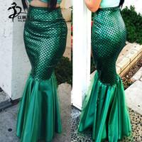 traje de peixe verde venda por atacado-Saia De Cintura Alta Esmeralda Verde Metálico Sereia Escala De Peixe cauda Traje saia