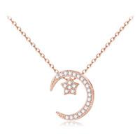 ingrosso collana di gioielli in argento sterling-Attraente bella collana da donna in argento sterling 925 con luna e stella in argento per amante timbrato 925