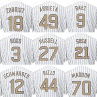 Wholesale Addison Russell - 2017 Men's Chicago Jersey 12 Kyle Schwarber 18 Ben Zobrist 27 Addison Russell Champions Gold Baseball Cool Base Jerseys