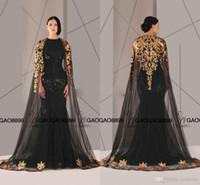 couture altın toptan satış-Antonios couture Siyah Arapça Dubai Uzun Balo Elbise ile Şal O boyun altın Aplikler Dantel Kadınlar Pageant abiye Örgün Parti Için