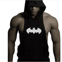 Wholesale Hooded Singlets - Wholesale-New Men Hoodie Gym brand sweatshirts Fitness Workout Sports Sleeveless tees shirt cotton vest singlets Hooded Vest Outdoor 003