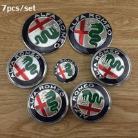 Wholesale Alfa Romeo Logo Sticker - 7pcs Free shipping 74mm new ALFA ROMEO for Mito 147 156 159 166 Giulietta Spider GT Car Logo emblem Badge sticker