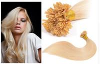 Wholesale Natural Nail Glue - #613 color 1g strand Nail U Tip Pre-Bonded Keratin Glue Human Natural Hair Extensions ON Capsules 100g 18inch--26inch Real Human Hair