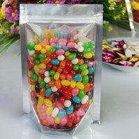 Wholesale 100pcs cm One side clear zipper food bags plastic food pouch