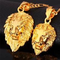 Wholesale Vintage Lion Necklace Jewelry - Hip Hop Gold Necklace Men Women Jewelry Figaro Chain Vintage Platinum 18K Real Gold Plated Big Lion Head Pendant Necklace P215
