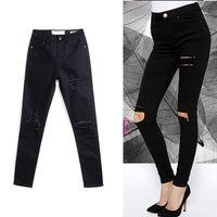 Wholesale Girls Leggings Zipper - Fashion Women Black Ripped Jeans Skinny Denim Jeans Girls Hip-Hop Frayed Hole Pants Leggings Biker Jeans BSF0333