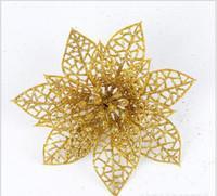 ingrosso decorazione di nozze d'argento blu-Nuovo 6 colori Glitter Hollow Wedding Party Decor Fiori di Natale Decorazione 10cm oro rosa blu argento
