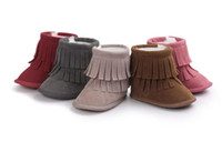 Wholesale Wholesale Fur Lace Up Boots - New Infant Walking Boots Winter Warm Flannelette Fur Linning Double Tassels Thread Hook&loop Anti-friction Anti-slip Soft Sole