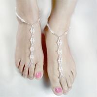 sandalias descalzas perlas de novia al por mayor-Perla hecha a mano Perla Verano Jokerelastic Forceanklet Perla Sandalia descalza Pulsera tobillera Cadena de pie Joyería nupcial Tobilleras de boda