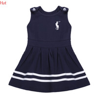 Wholesale Tutu Cute Tank - Korean Cute Baby Girl Dress O-Neck Sleeveless Tank Pleated Girls Clothes Fashion Sundress Children Clothing Navy Baby Summer Dress SV017190