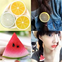 Wholesale New Creative fruit lemon apple hair bands Cute cartoon female elastic hair band South Korea is contracted art hair accessories