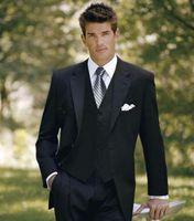 Wholesale Men Gown Wedding - (Jacket+Vest+Pants) Black Notched Lapel Groom Tuxedos Groomsmen Bridegroom Suits For Wedding Custom Made Men Wedding Suits Formal Men Gown