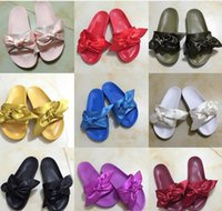 Wholesale Slippers Ladies High - (With Box) Women Slippers Fenty Bandana Slide Leadcat Fenty rihanna Bowtie slippers Bow Slides Ladies Slipper White Pink Red Gold size 36-41